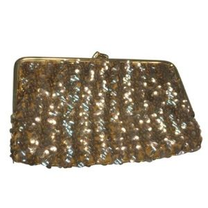 Vintage gold metallic beaded sequin purse clutch